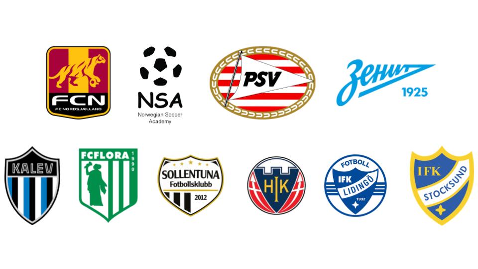 HJK Cup 2019 international teams: PSV Eindhoven (NL), FC Nordsjælland (DK), Zenit (RU) NSA (NO), JK Kalev (EE), FC Flora (EE), Sollentuna Fotbollsklubb (SE), Hobro IK (DK), IFK Lidingö (SE) and IFK Stocksund (SE).